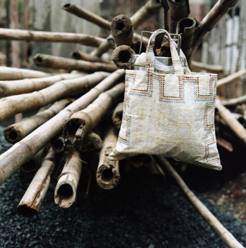 Day labourer's lunch sac made from old rice bag,